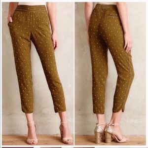 Anthropologie Elevenses Army Green Pants Size 2
